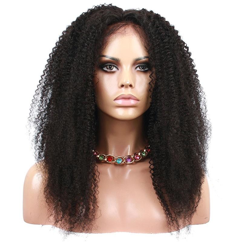 Kinky Curly Glueless Full Lace Frontal Brazilian Human Hair Wig
